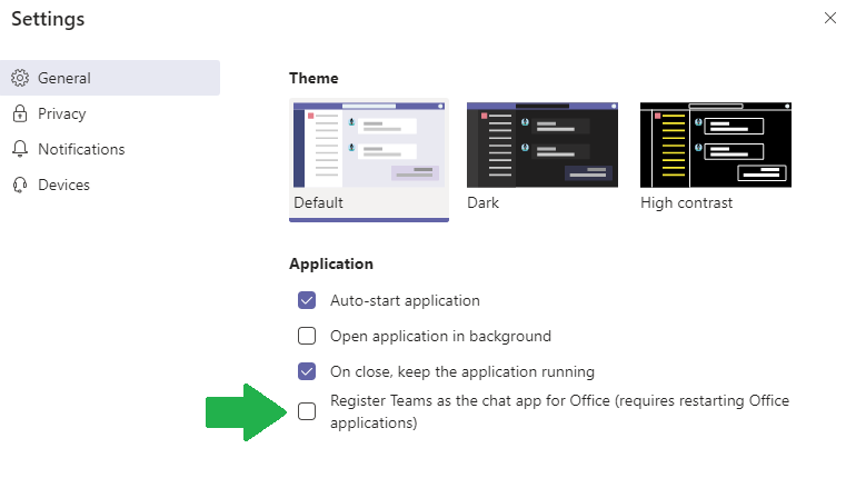 Image showing the general tab of the Microsoft Teams Settings prompt.